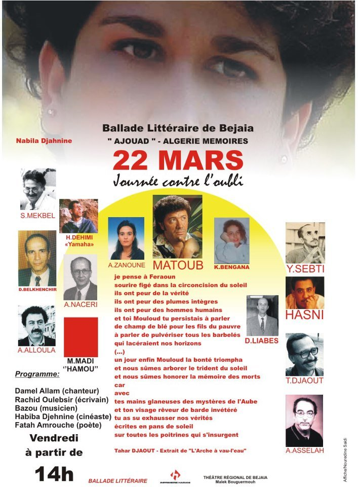 22 mars. Journée contre l'oubli dans 1. AU JOUR LE JOUR contreloubli