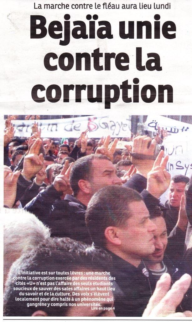 Les Etudiants dénoncent la corruption et l'insécurité dans 1. AU JOUR LE JOUR anti-corruption