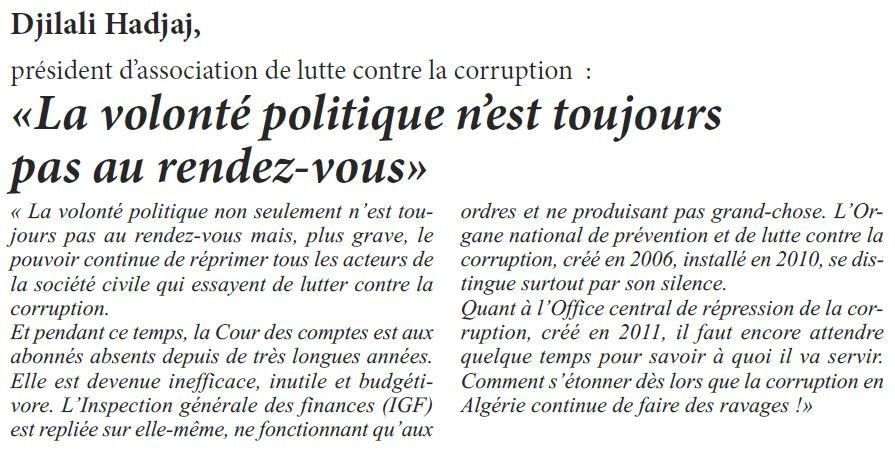 Lutte contre la corruption. Option démagogique ? dans 1. AU JOUR LE JOUR corruption